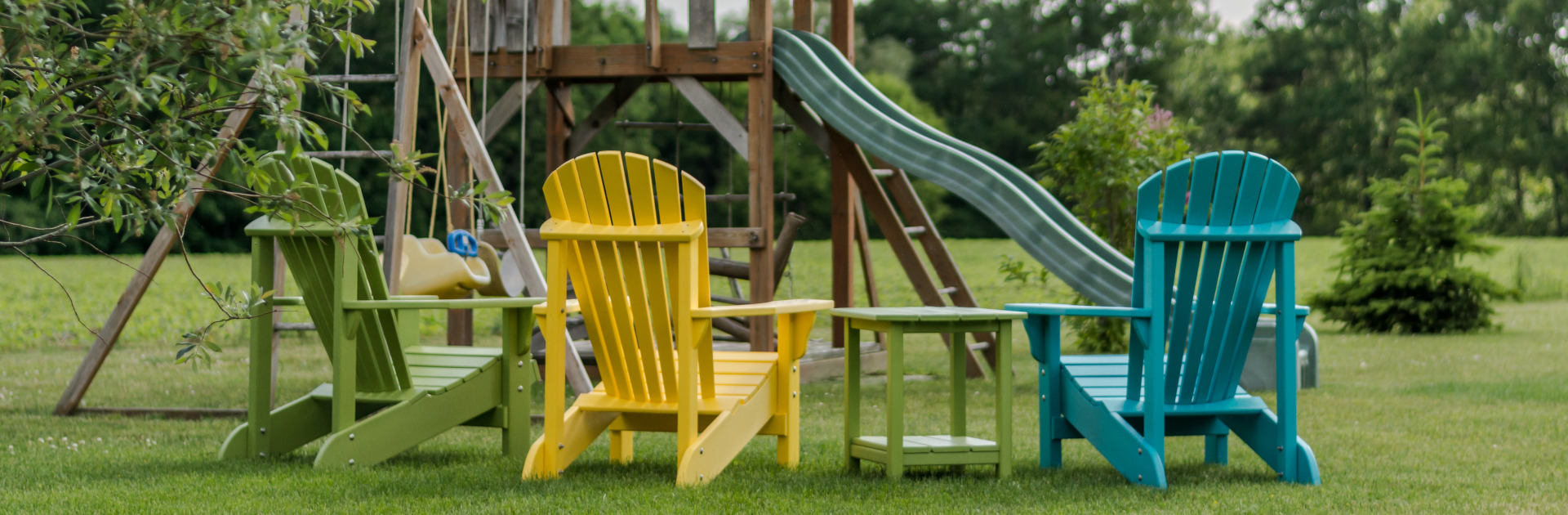 adirondack chairs and swingset